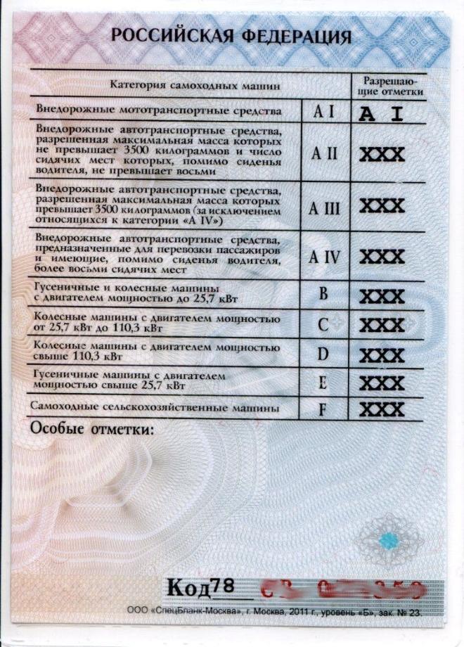 Водительское удостоверение на квадроцикл